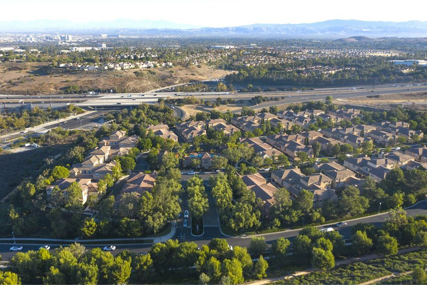 Aerial view of Bordeaux Apartment Homes in Newport Beach, CA.