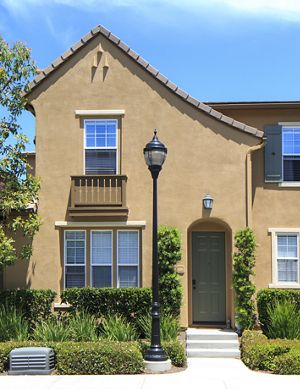 View of building exterior at Bordeaux Apartment Homes in Newport Beach, CA.