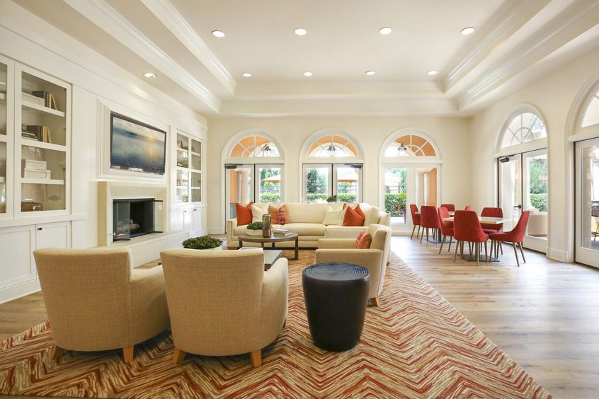 Interior view of clubhouse at Newport Bluffs Apartment Homes in Newport Beach, CA.