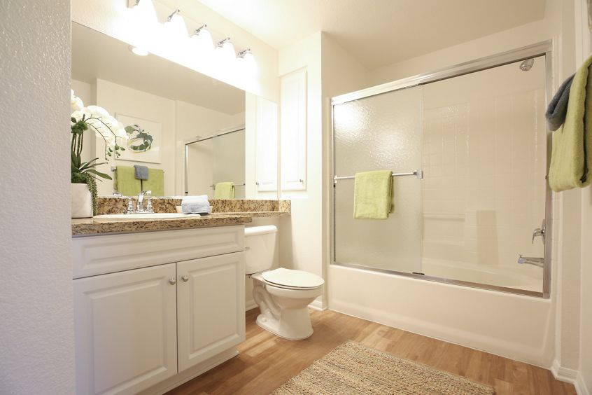 Interior view of bathroom at Newport Bluffs Apartment Homes in Newport Beach, CA.