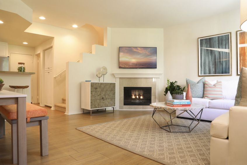 Interior view of living room at Newport Bluffs Apartment Homes in Newport Beach, CA.