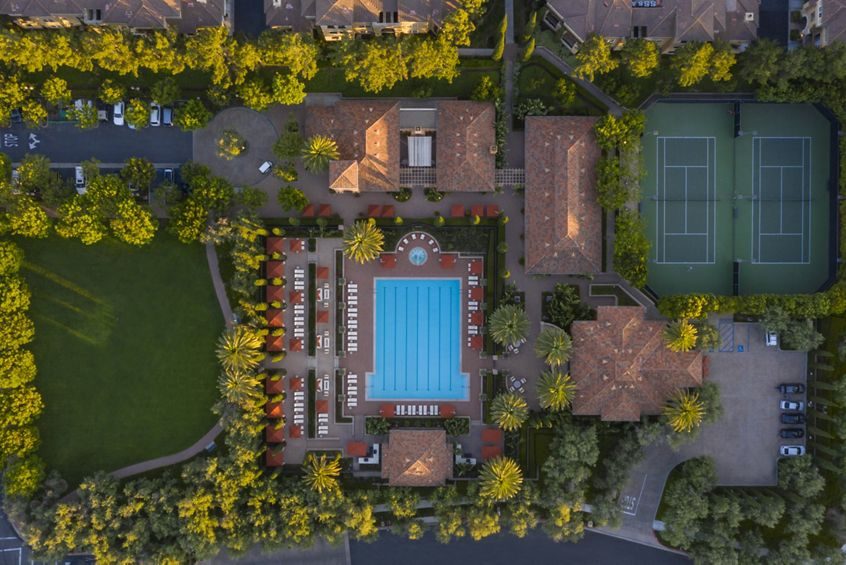 Exterior aerial view of Newport Bluffs Apartment Homes in Newport Beach, CA.