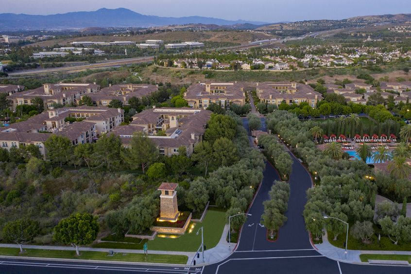 Aerial view of Newport Bluffs Apartment Homes in Newport Beach, CA.