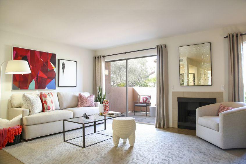 Interior view of living room at Newport North Apartment Homes in Newport Beach, CA.