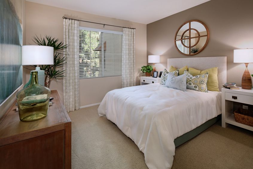 Interior view of a bedroom Newport Ridge Apartment Homes in Newport Beach, CA.