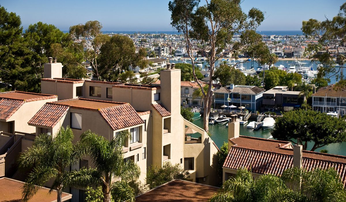 Exterior view of Newport Harbor from Promontory Point Apartment Communities in Newport Beach, CA.