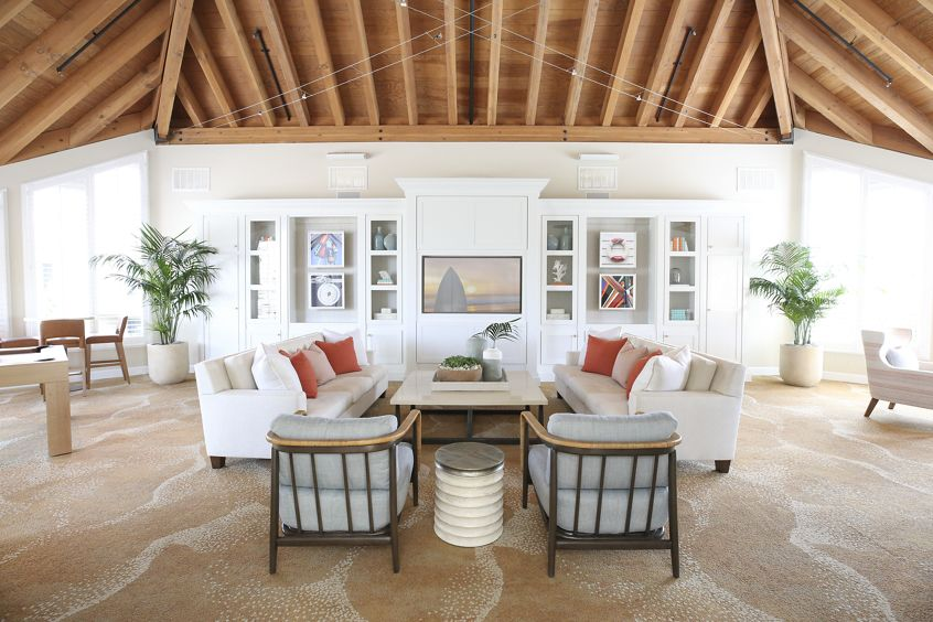 Interior view of Clubhouse at Promontory Point Apartment Communities in Newport Beach, CA.