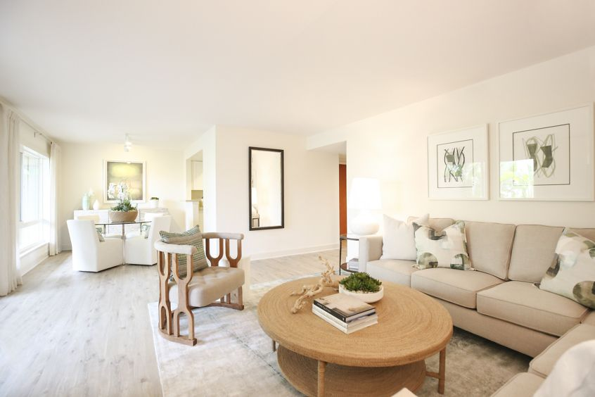 Interior view of living room at Promontory Point Apartment Communities in Newport Beach, CA.