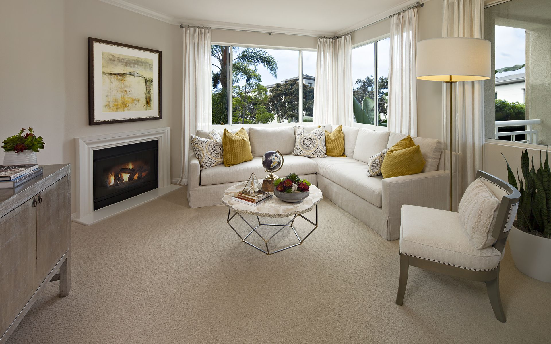Interior view of living room at The Colony at Fashion Island Apartment Homes in Newport Beach, CA.