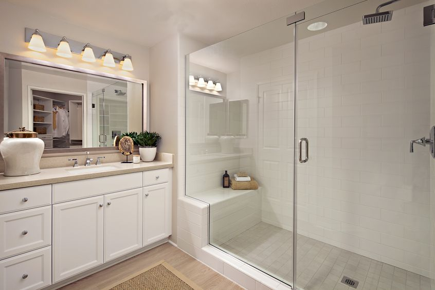 Interior view of bathroom at The Colony at Fashion Island Apartment Homes in Newport Beach, CA.