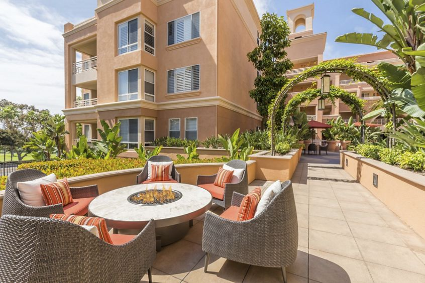 Exterior view of patio at The Colony at Fashion Island at Apartment Homes in Newport Beach, CA.
