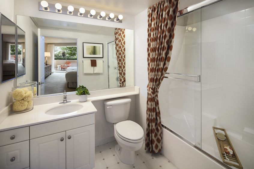 Interior view of a bathroom at Turtle Ridge Apartment Homes in Newport Beach, CA.