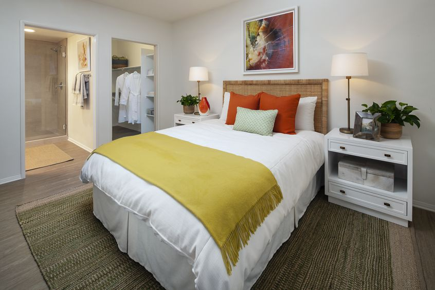 Interior view of a bedroom at Turtle Ridge Apartment Homes in Newport Beach, CA.