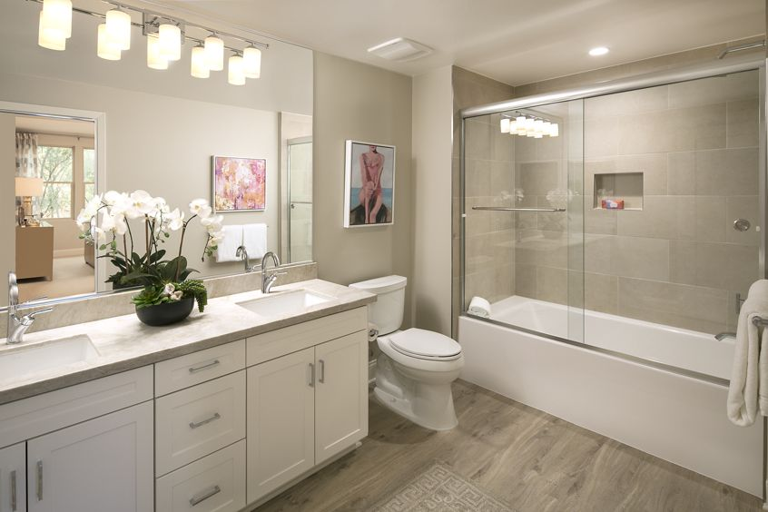 Interior view of bathroom at Villas Fashion Island Apartment Homes in Newport Beach, CA.