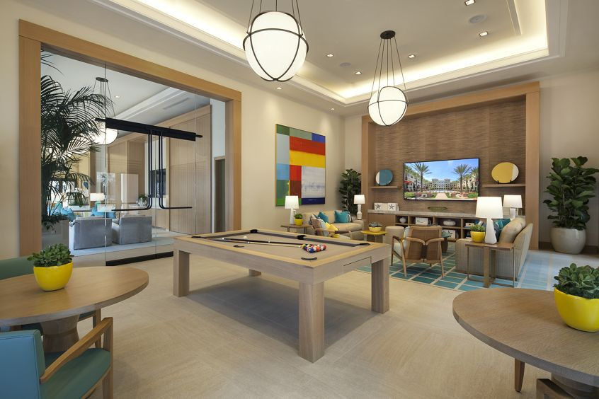 Interior view of Clubhouse game room at Villas Fashion Island Apartment Homes in Newport Beach, CA.
