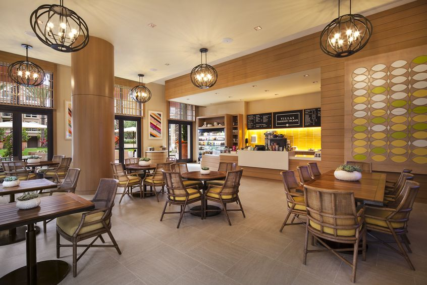 Interior view of Cafe at Villas Fashion Island Apartment Homes in Newport Beach, CA.