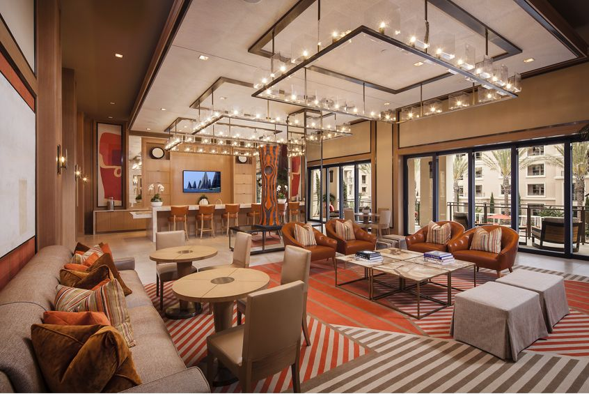 Interior view of clubhouse lounge at Villas Fashion Island Apartment Homes in Newport Beach, CA.