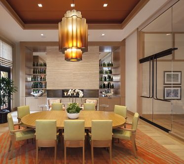 Interior view of clubhouse dining room at Villas Fashion Island Apartment Homes in Newport Beach, CA.