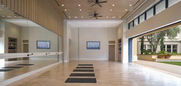 Interior view of yoga studio at Villas Fashion Island Apartment Homes in Newport Beach, CA.