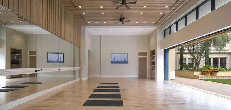 Interior view of yoga studio at Villas Fashion Island Apartment Homes in Newport Beach, CA.