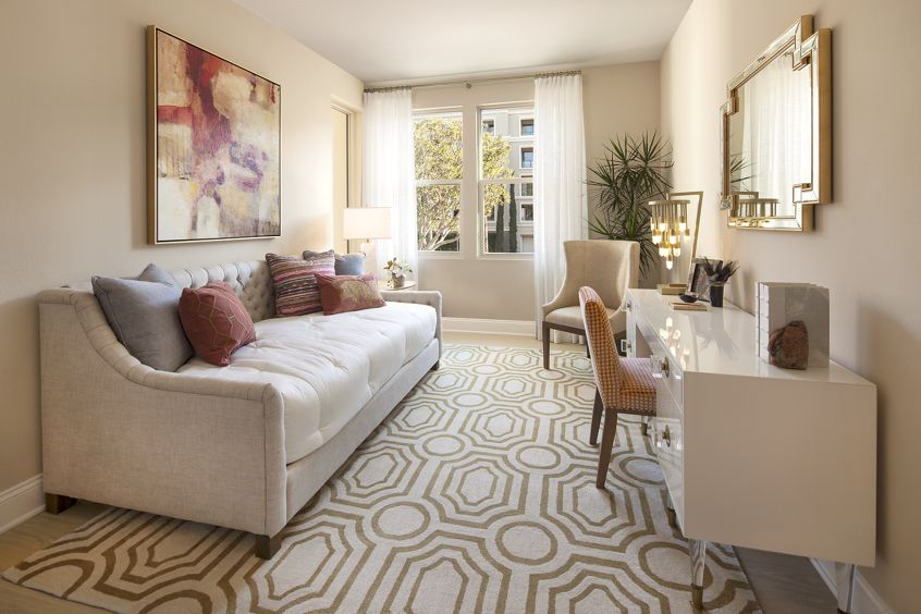 Interior view of living room at Villas Fashion Island Apartment Homes in Newport Beach, CA.