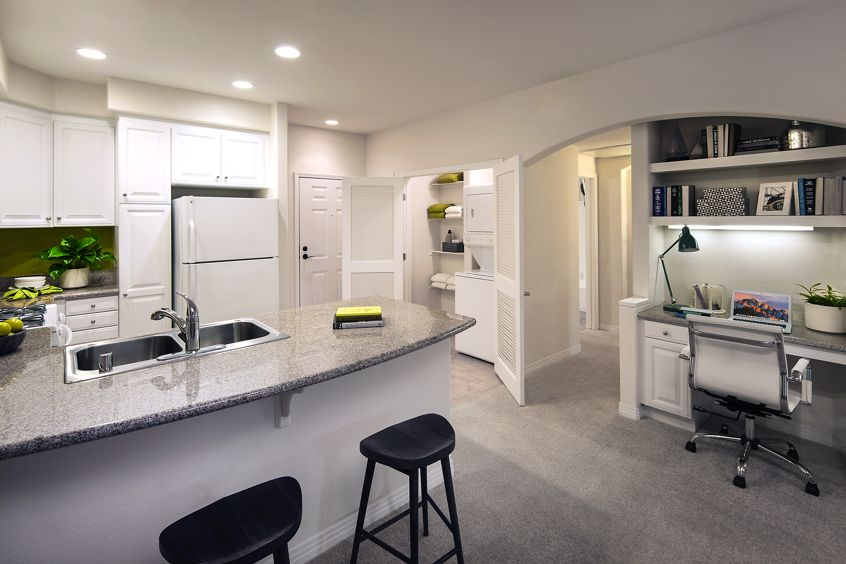 Interior views of kitchen and office space at Gateway Apartment Homes in Orange, CA.