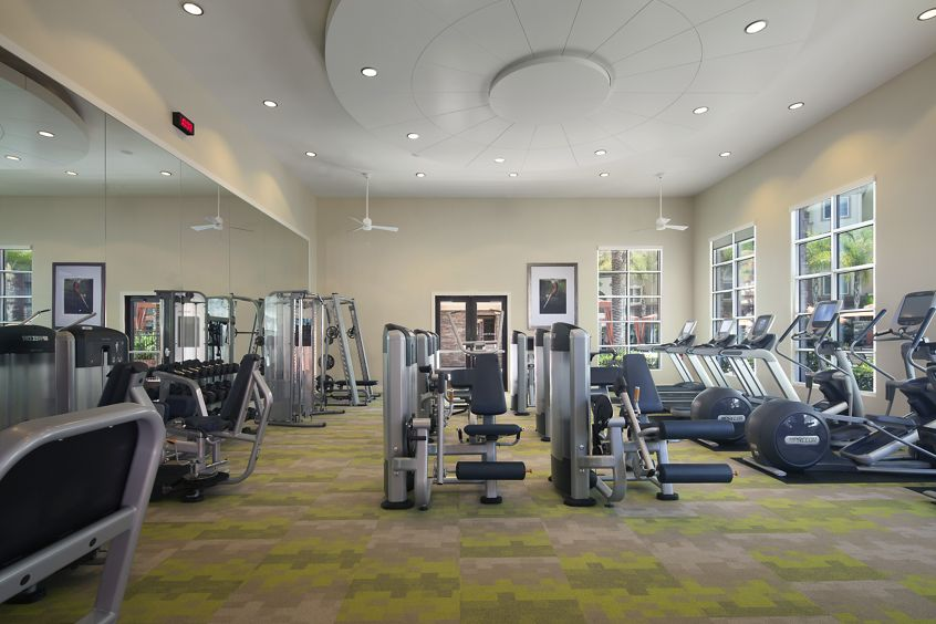 Interior views of fitness center at the Gateway Apartment Homes in Orange, CA.