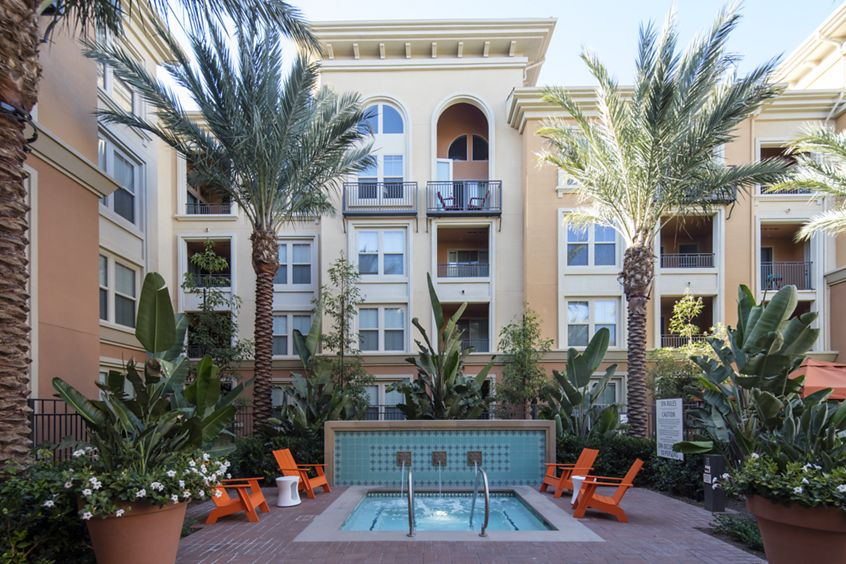 Exterior view of jacuzzi at Gateway Apartment Homes in Orange, CA.