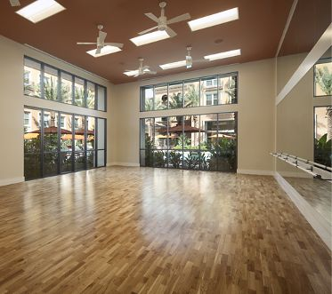 Interior views of yoga studio at Gateway Apartment Homes in Orange, CA.