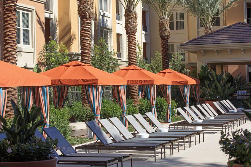 Exterior view of resort pool at Gateway Apartment Homes in Orange, CA.