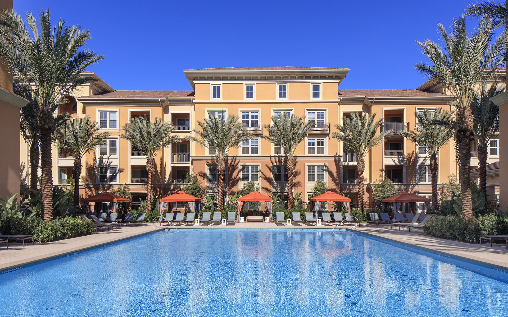 Exterior views of resort pool at the Gateway Apartment Homes in Orange, CA.