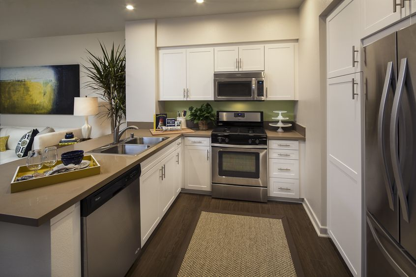 Interior views of kitchen at the Gateway Apartment Homes in Orange, CA.