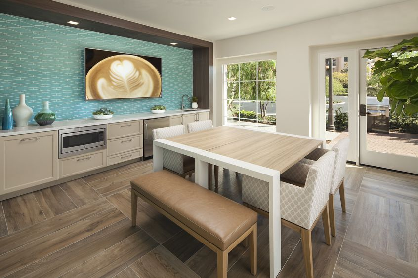 Interior view of the clubhouse kitchen at Las Flores Apartment Homes in Rancho Santa Margarita, CA.