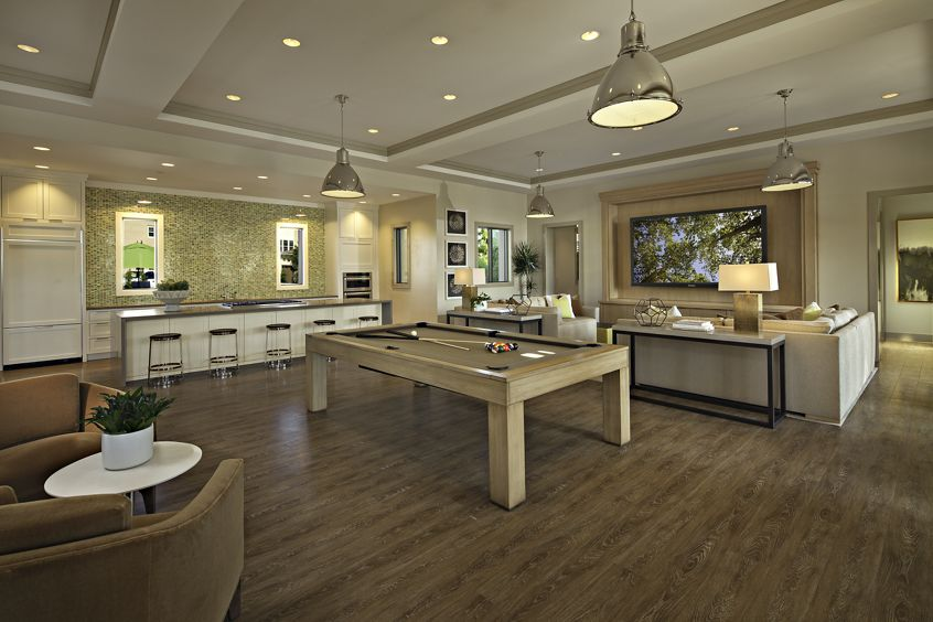 Interior view of clubhouse at Amalfi Apartment Homes in Tustin, CA.