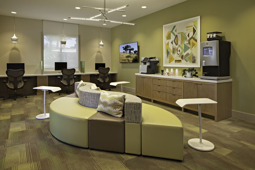 Interior view of lounge area at Amalfi Apartment Homes in Tustin, CA.
