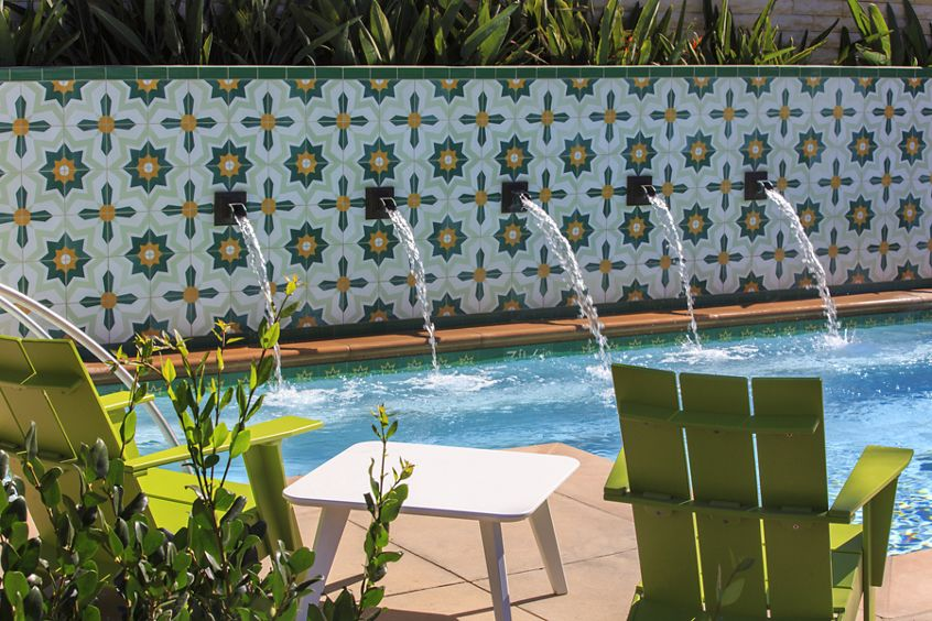 View of pool at Amalfi Apartment Homes in Tustin, CA.