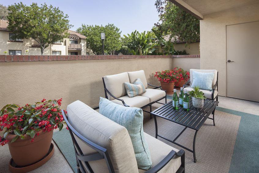 Exterior view of patio at Rancho Alisal Apartment Homes in Tustin, CA.