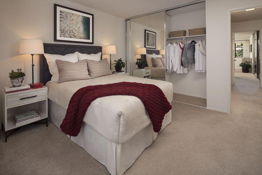 Interior view of bedroom at Rancho Alisal Apartment Homes in Tustin, CA.