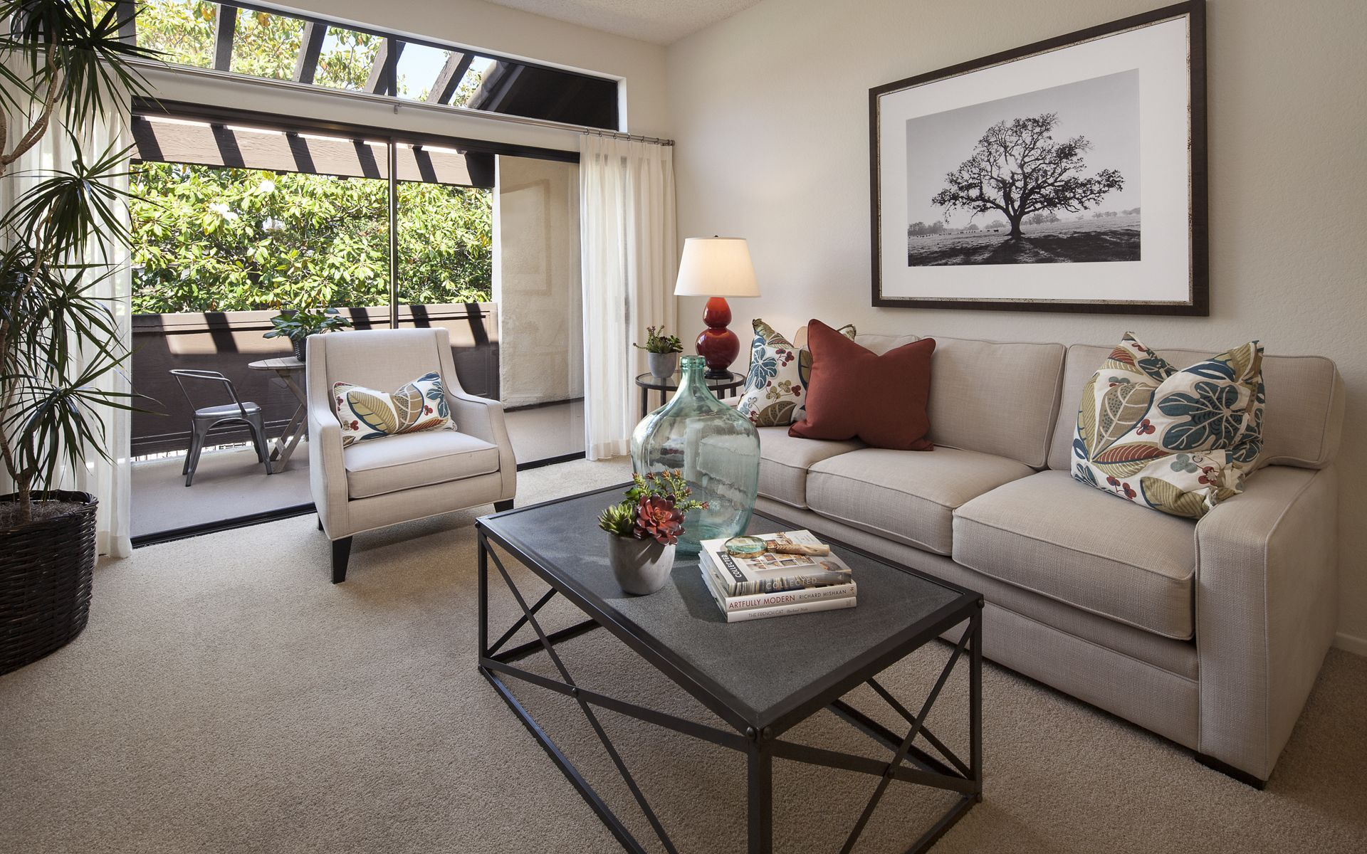 Interior view of living room at Rancho Alisal Apartment Homes in Tustin, CA.