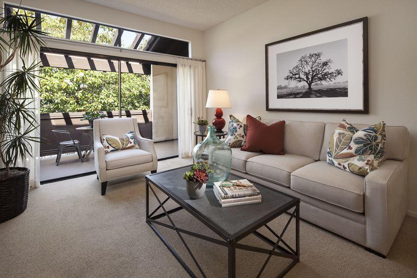 Interior view of living room at Rancho Alisal Apartment Homes in Tustin, CA.