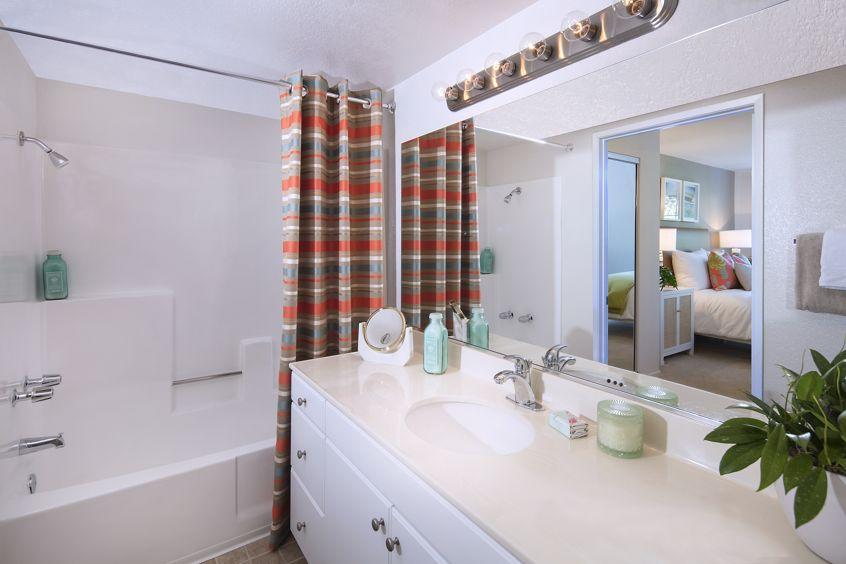 Interior view of bathroom at Rancho Maderas Apartment Homes in Tustin, CA.