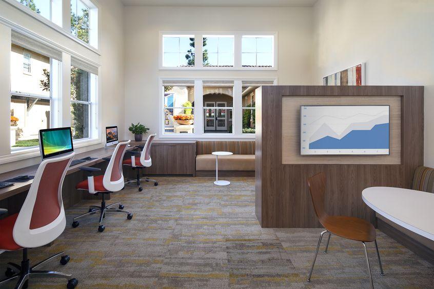 Interior view of business center at Rancho Santa Fe Apartment Homes in Tustin, CA.