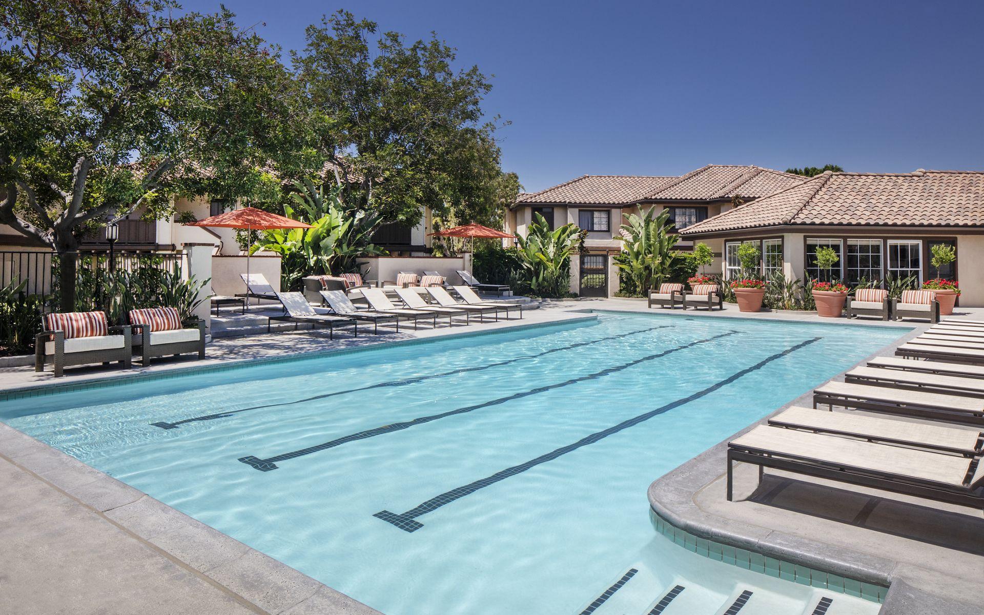 Pool view at Rancho Tierra Apartment Homes in Tustin, CA.