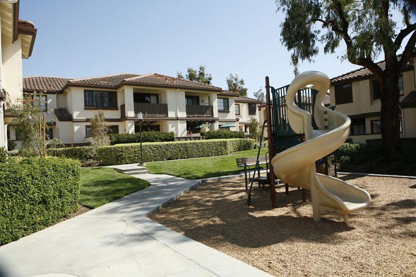 Exterior view at Rancho Tierra Apartment Homes in Tustin, CA.