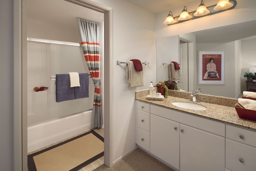 Interior view of bathroom at Sierra Vista Apartment Homes in Tustin, CA.