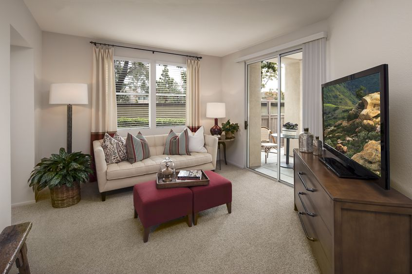 Interior view of living room at Sierra Vista Apartment Homes in Tustin, CA.