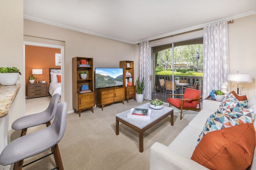 Interior view of living room at Arcadia at Stonecrest Apartment Homes in San Diego, CA.