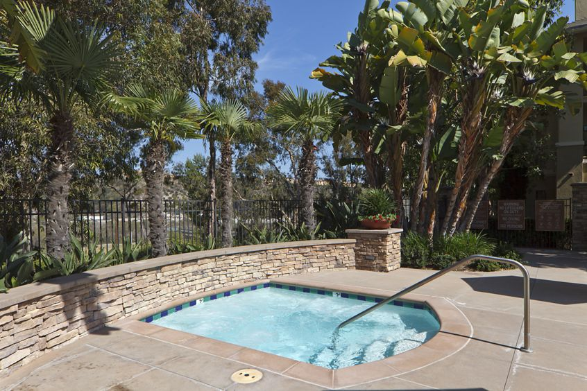 Exterior view of jacuzzi at Arcadia at StoneCrest Village Apartment Homes in San Diego, CA.
