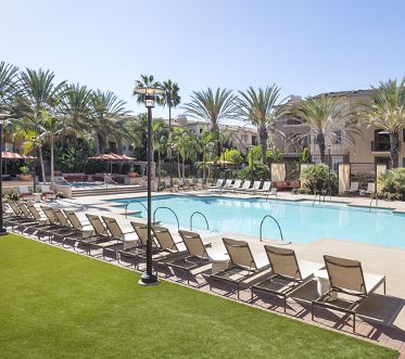 Pool view of Del Rio Apartment Homes in Mission Valley, CA.