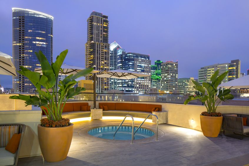Exterior view of roof deck spa at Harborview Apartment Homes in San Diego, CA.